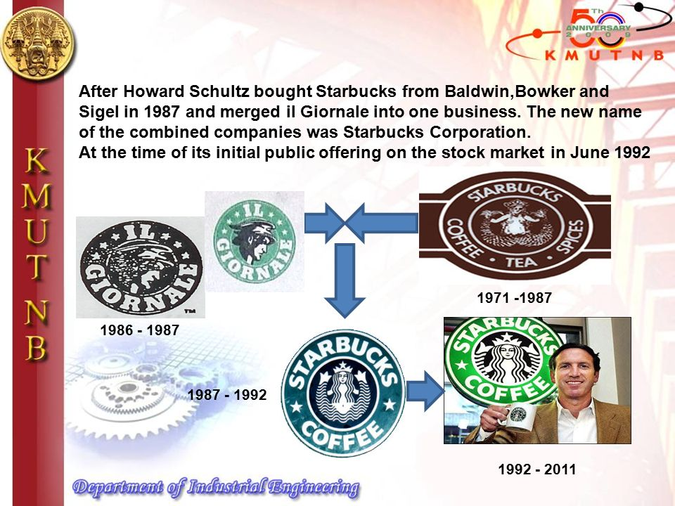 After Howard Schultz bought Starbucks from Baldwin,Bowker and Sigel in 1987 and merged il Giornale into one business.