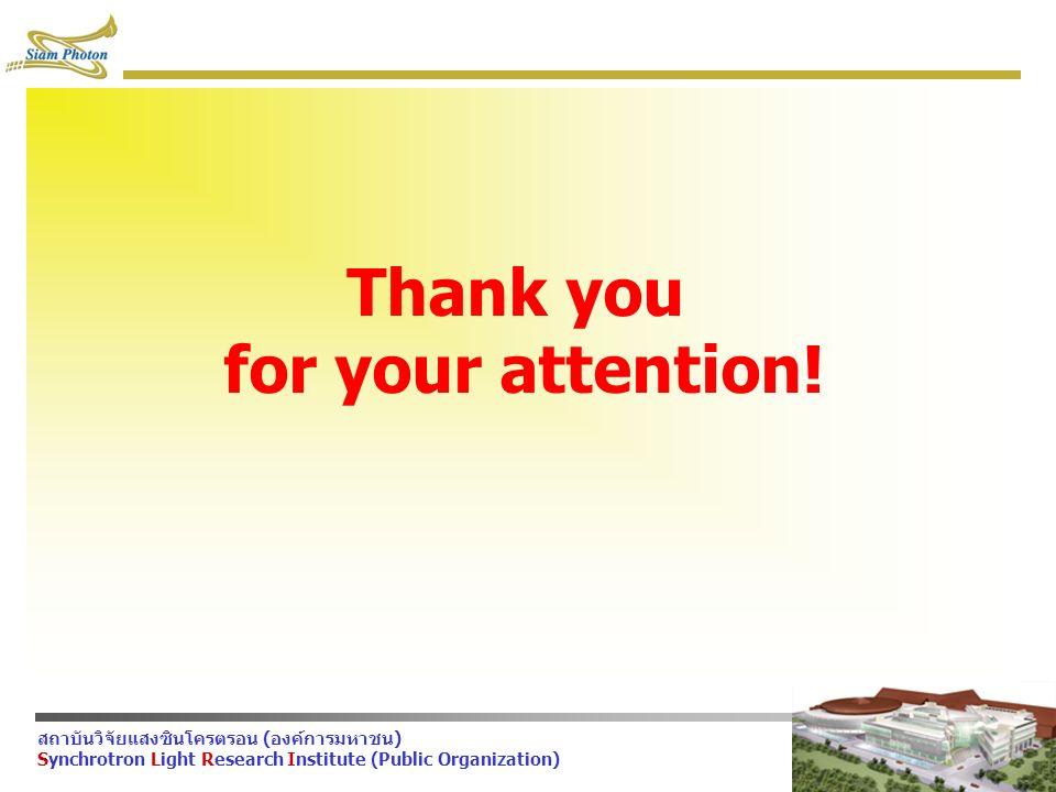 สถาบันวิจัยแสงซินโครตรอน (องค์การมหาชน) Synchrotron Light Research Institute (Public Organization) Thank you for your attention!