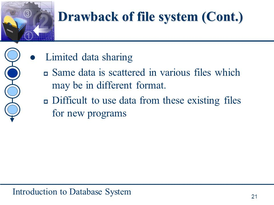 Introduction to Database System 21 Drawback of file system (Cont.) Limited data sharing p Same data is scattered in various files which may be in different format.