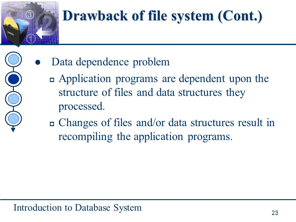 Introduction to Database System 23 Drawback of file system (Cont.) Data dependence problem p Application programs are dependent upon the structure of files and data structures they processed.