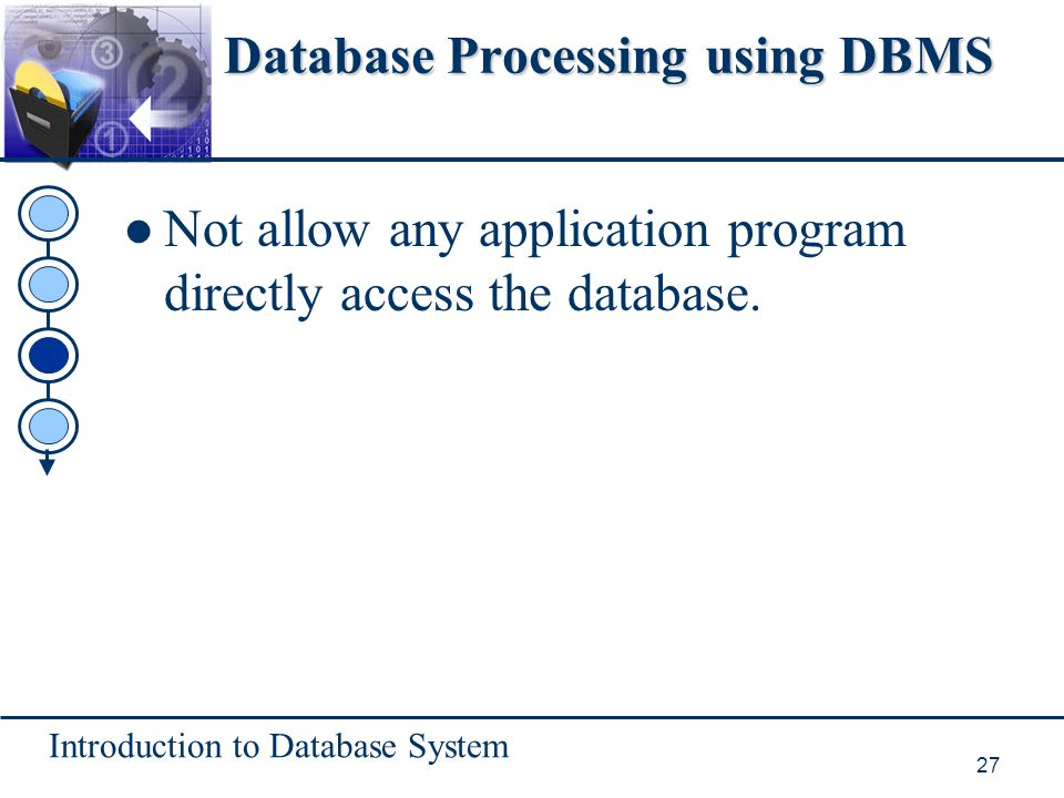 Introduction to Database System 27 Database Processing using DBMS Not allow any application program directly access the database.