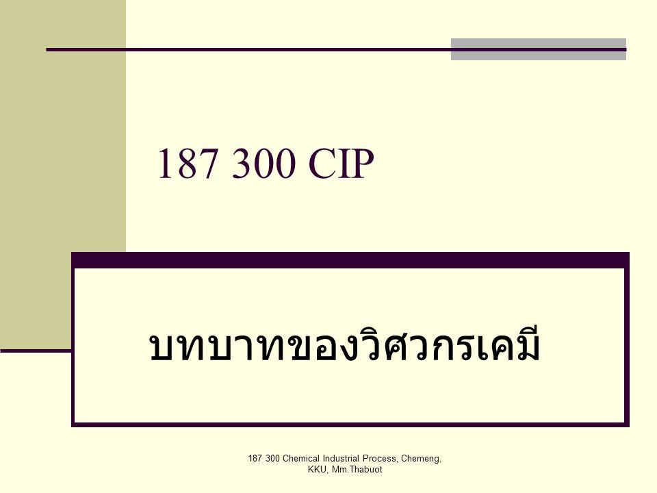 187 300 Chemical Industrial Process, Chemeng, KKU, Mm.Thabuot 187 300 CIP บทบาทของวิศวกรเคมี