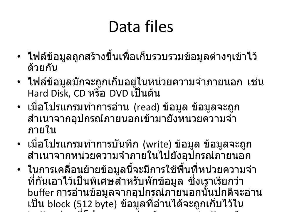 Data files ไฟล์ข้อมูลถูกสร้างขึ้นเพื่อเก็บรวบรวมข้อมูลต่างๆเข้าไว้ ด้วยกัน ไฟล์ข้อมูลมักจะถูกเก็บอยู่ในหน่วยความจำภายนอก เช่น Hard Disk, CD หรือ DVD เป็นต้น เมื่อโปรแกรมทำการอ่าน (read) ข้อมูล ข้อมูลจะถูก สำเนาจากอุปกรณ์ภายนอกเข้ามายังหน่วยความจำ ภายใน เมื่อโปรแกรมทำการบันทึก (write) ข้อมูล ข้อมูลจะถูก สำเนาจากหน่วยความจำภายในไปยังอุปกรณ์ภายนอก ในการเคลื่อนย้ายข้อมูลนี้จะมีการใช้พื้นที่หน่วยความจำ ที่กันเอาไว้เป็นพิเศษสำหรับพักข้อมูล ซึ่งเราเรียกว่า buffer การอ่านข้อมูลจากอุปกรณ์ภายนอกนั้นปกติจะอ่าน เป็น block (512 byte) ข้อมูลที่อ่านได้จะถูกเก็บไว้ใน buffer ก่อนที่โปรแกรมจะอ่านข้อมูลจาก buffer แล้ว นำไปประมวลผลต่อไป