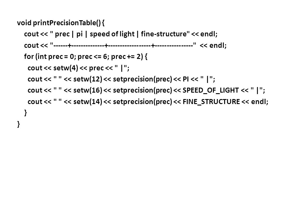 int main() { cout << uppercase << right; cout << Default format: << endl << endl; printPrecisionTable(); cout << endl << Fixed format: << fixed << endl << endl; printPrecisionTable(); cout << endl << Scientific format: << scientific << endl << endl; printPrecisionTable(); return 0; }
