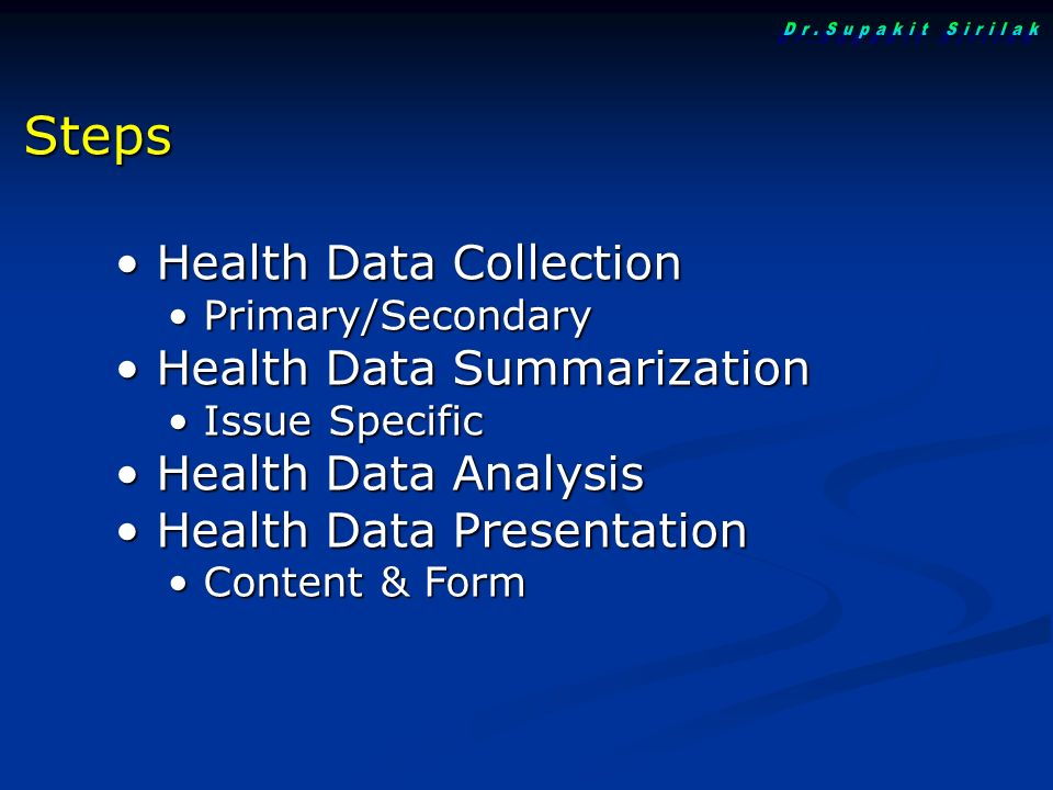 Health Data Collection Health Data Collection Primary/Secondary Primary/Secondary Health Data Summarization Health Data Summarization Issue Specific I