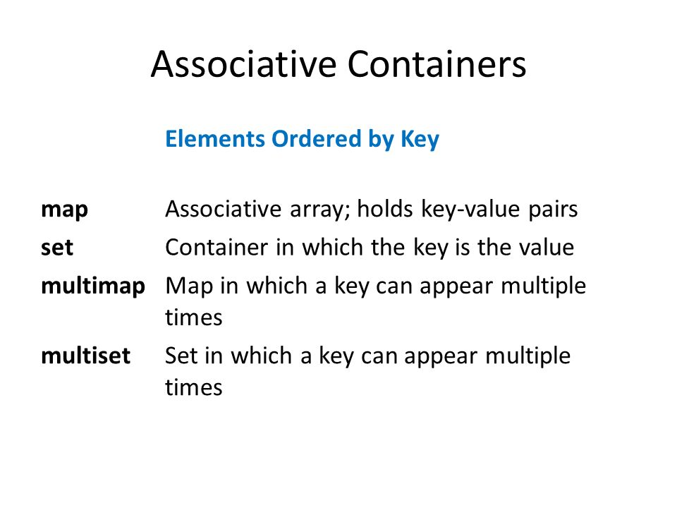 Associative Containers Elements Ordered by Key mapAssociative array; holds key-value pairs setContainer in which the key is the value multimapMap in which a key can appear multiple times multisetSet in which a key can appear multiple times
