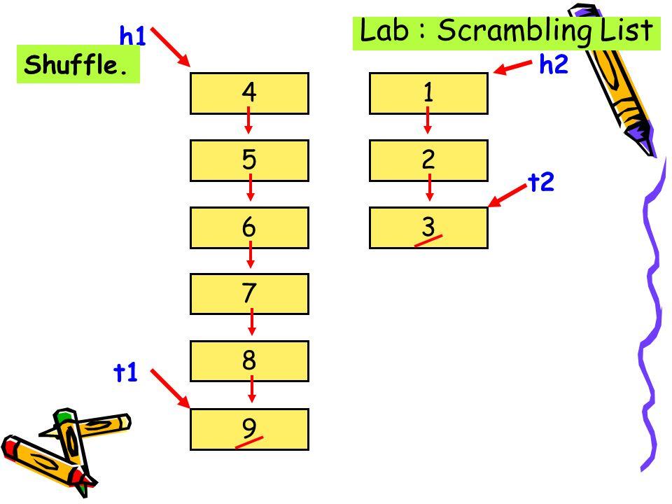 Lab : Scrambling List h1 Shuffle. 4 5 6 7 8 9 t1 1 2 3 h2 t2