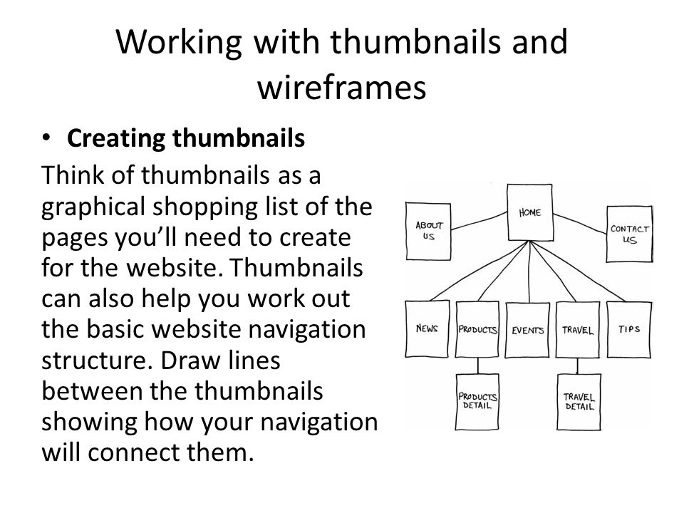 Working with thumbnails and wireframes Creating thumbnails Think of thumbnails as a graphical shopping list of the pages you'll need to create for the