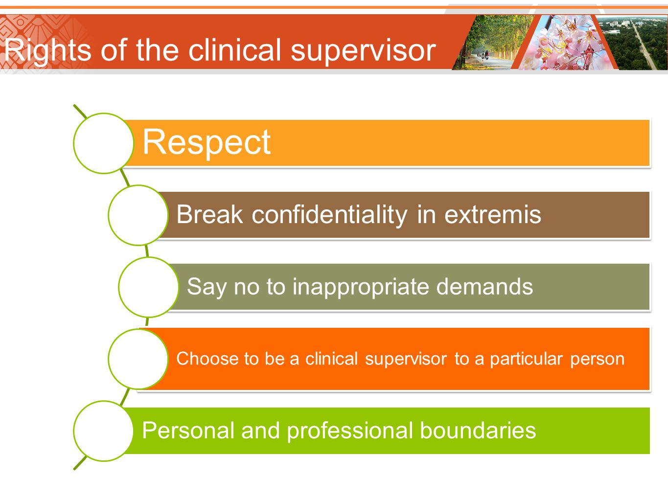 Rights of the clinical supervisor Respect Break confidentiality in extremis Say no to inappropriate demands Choose to be a clinical supervisor to a pa