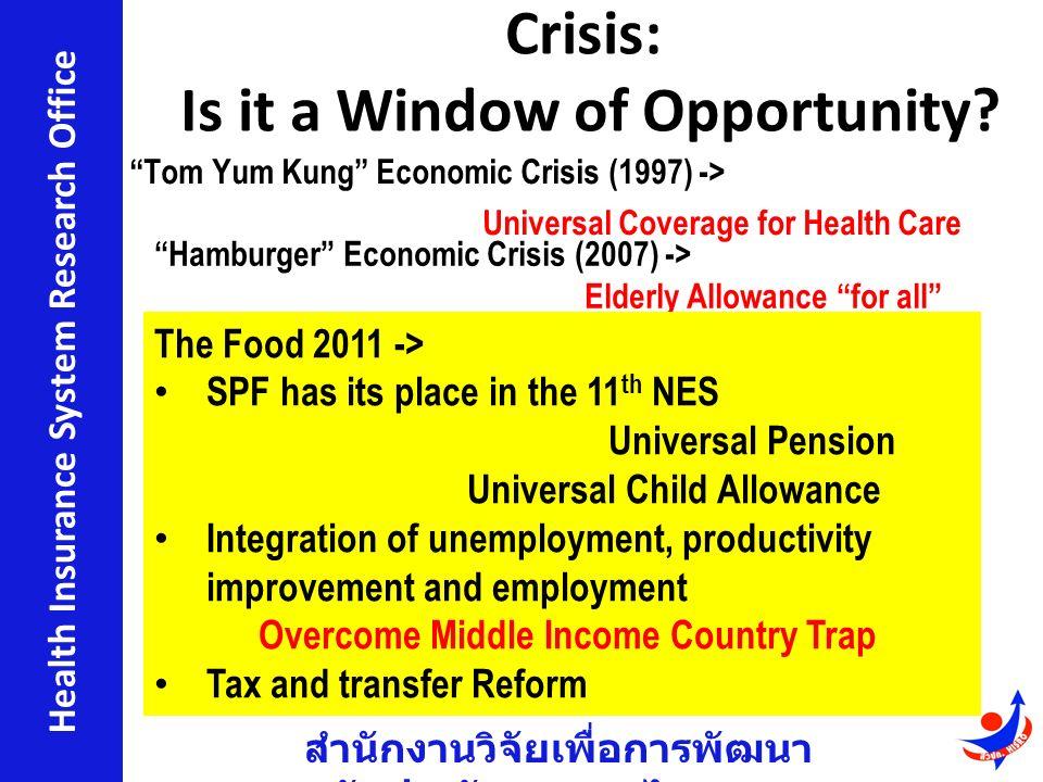 สำนักงานวิจัยเพื่อการพัฒนา หลักประกันสุขภาพไทย Health Insurance System Research Office Crisis: Is it a Window of Opportunity.