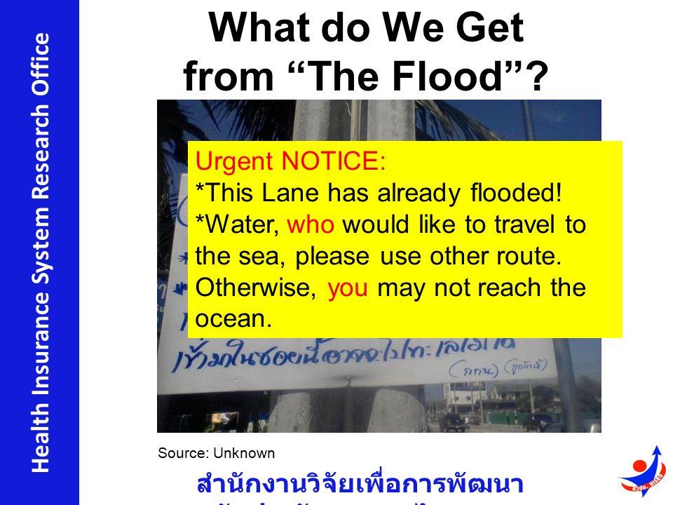 สำนักงานวิจัยเพื่อการพัฒนา หลักประกันสุขภาพไทย Health Insurance System Research Office What do We Get from The Flood .