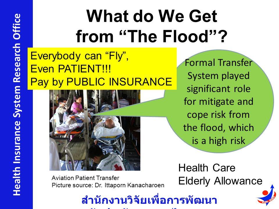"""สำนักงานวิจัยเพื่อการพัฒนา หลักประกันสุขภาพไทย Health Insurance System Research Office What do We Get from """"The Flood""""? Aviation Patient Transfer Pict"""