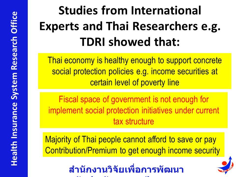 สำนักงานวิจัยเพื่อการพัฒนา หลักประกันสุขภาพไทย Health Insurance System Research Office Studies from International Experts and Thai Researchers e.g. TD