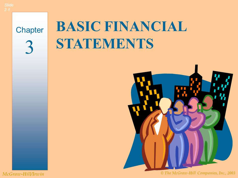 © The McGraw-Hill Companies, Inc., 2003 McGraw-Hill/Irwin Slide 2-2 Introduction to Financial Statements Three primary financial statements.