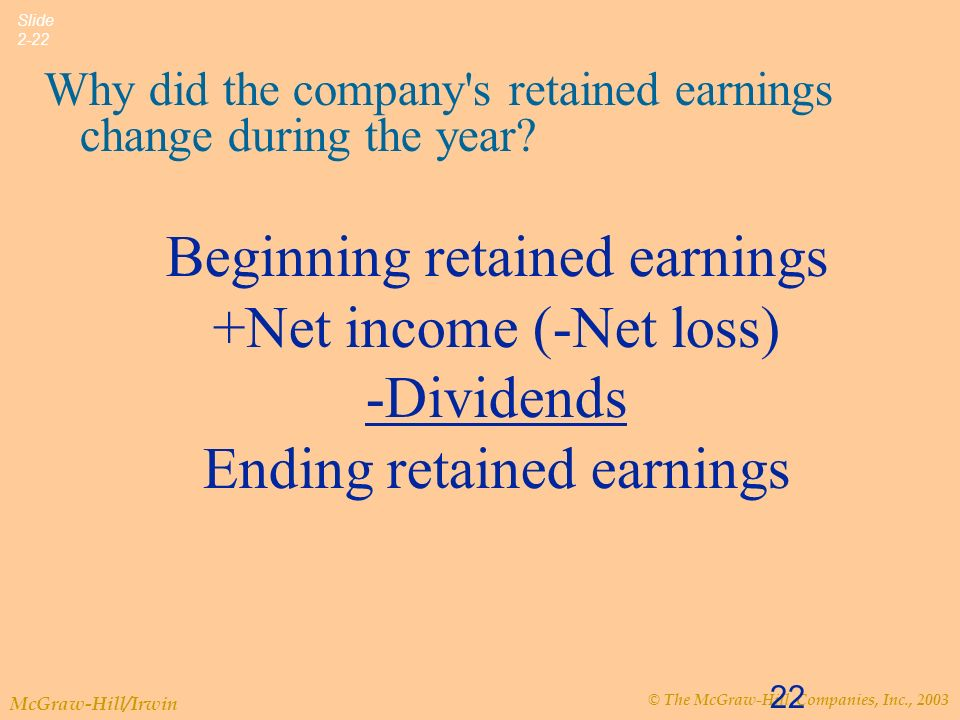 © The McGraw-Hill Companies, Inc., 2003 McGraw-Hill/Irwin Slide 2-22 22 Why did the company s retained earnings change during the year.