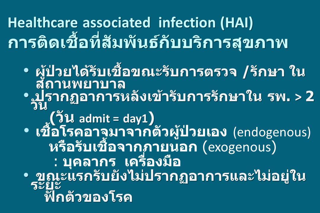 Healthcare associated infection (HAI) การติดเชื้อที่สัมพันธ์กับบริการสุขภาพ ผู้ป่วยได้รับเชื้อขณะรับการตรวจ / รักษา ใน ผู้ป่วยได้รับเชื้อขณะรับการตรวจ