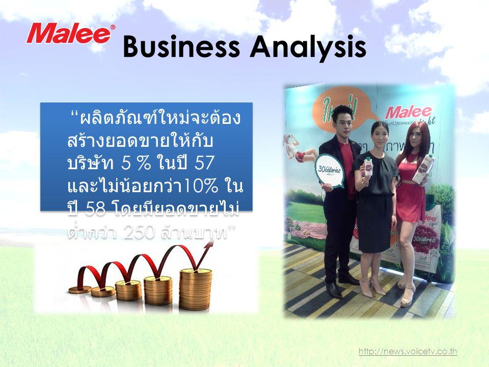 Business Analysis ผลิตภัณฑ์ใหม่จะต้อง สร้างยอดขายให้กับ บริษัท 5 % ในปี 57 และไม่น้อยกว่า 10% ใน ปี 58 โดยมียอดขายไม่ ต่ำกว่า 250 ล้านบาท http://news.voicetv.co.th
