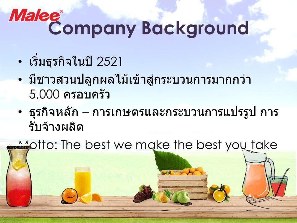 Company Background เริ่มธุรกิจในปี 2521 มีชาวสวนปลูกผลไม้เข้าสู่กระบวนการมากกว่า 5,000 ครอบครัว ธุรกิจหลัก – การเกษตรและกระบวนการแปรรูป การ รับจ้างผลิต Motto: The best we make the best you take