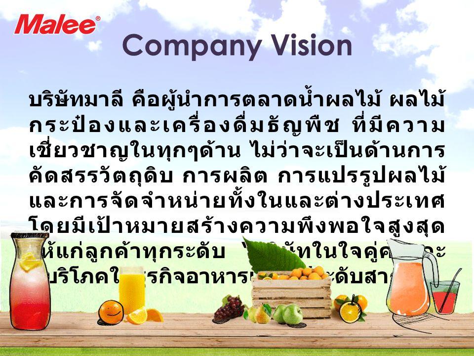 Company Vision บริษัทมาลี คือผู้นำการตลาดน้ำผลไม้ ผลไม้ กระป๋องและเครื่องดื่มธัญพืช ที่มีความ เชี่ยวชาญในทุกๆด้าน ไม่ว่าจะเป็นด้านการ คัดสรรวัตถุดิบ ก