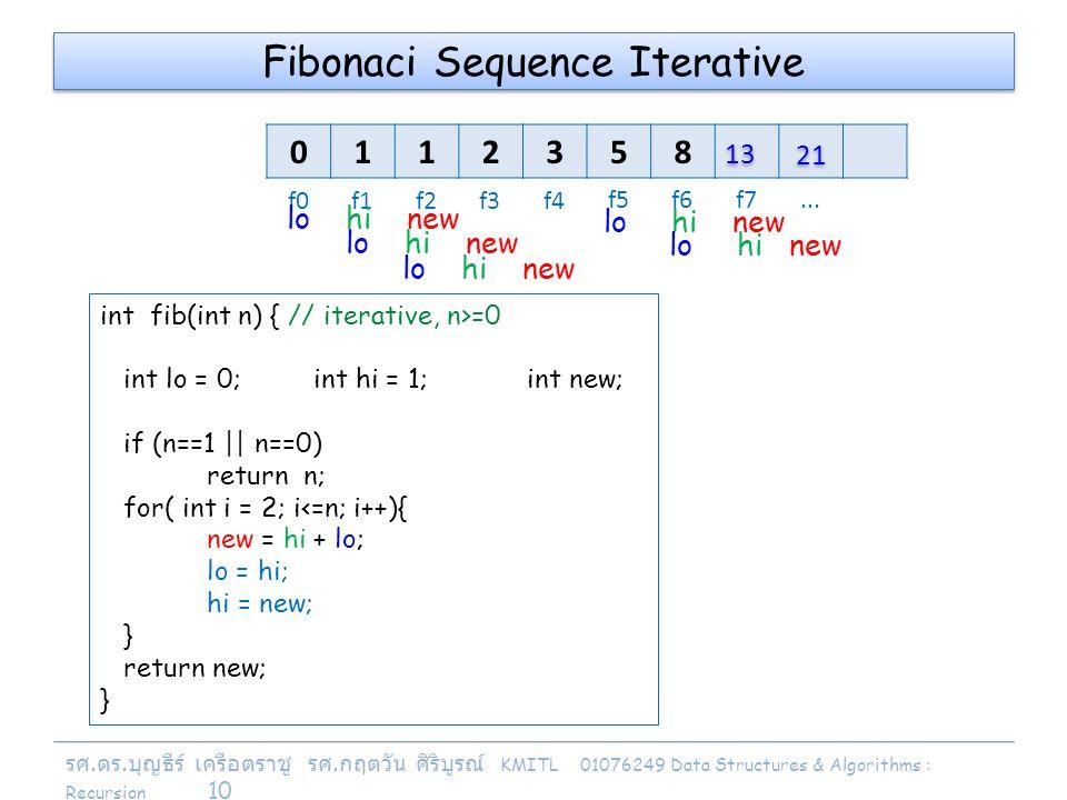 รศ. ดร. บุญธีร์ เครือตราชู รศ. กฤตวัน ศิริบูรณ์ KMITL 01076249 Data Structures & Algorithms : Recursion 10 Fibonaci Sequence Iterative 0112358 f0f1f2f