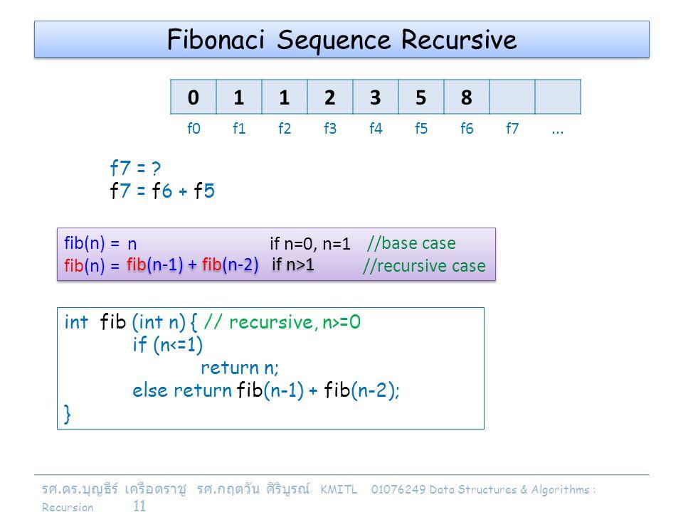 รศ. ดร. บุญธีร์ เครือตราชู รศ. กฤตวัน ศิริบูรณ์ KMITL 01076249 Data Structures & Algorithms : Recursion 11 fib(n) = //base case fib(n) = //recursive c