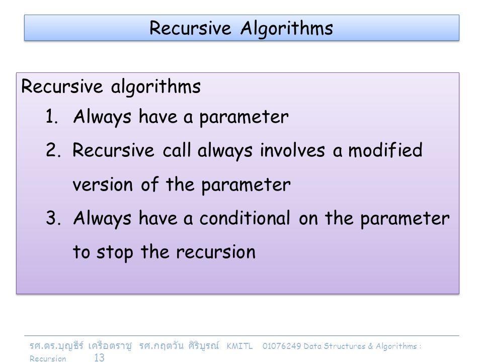 รศ. ดร. บุญธีร์ เครือตราชู รศ. กฤตวัน ศิริบูรณ์ KMITL 01076249 Data Structures & Algorithms : Recursion 13 Recursive Algorithms Recursive algorithms 1