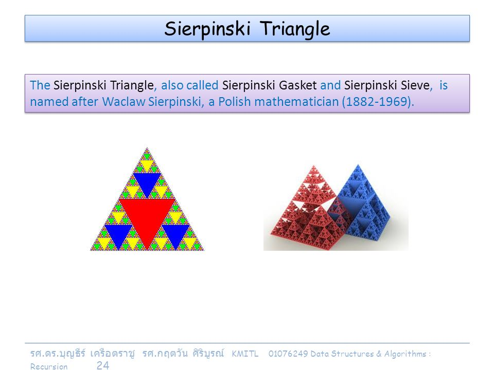 รศ. ดร. บุญธีร์ เครือตราชู รศ. กฤตวัน ศิริบูรณ์ KMITL 01076249 Data Structures & Algorithms : Recursion 24 Sierpinski Triangle The Sierpinski Triangle