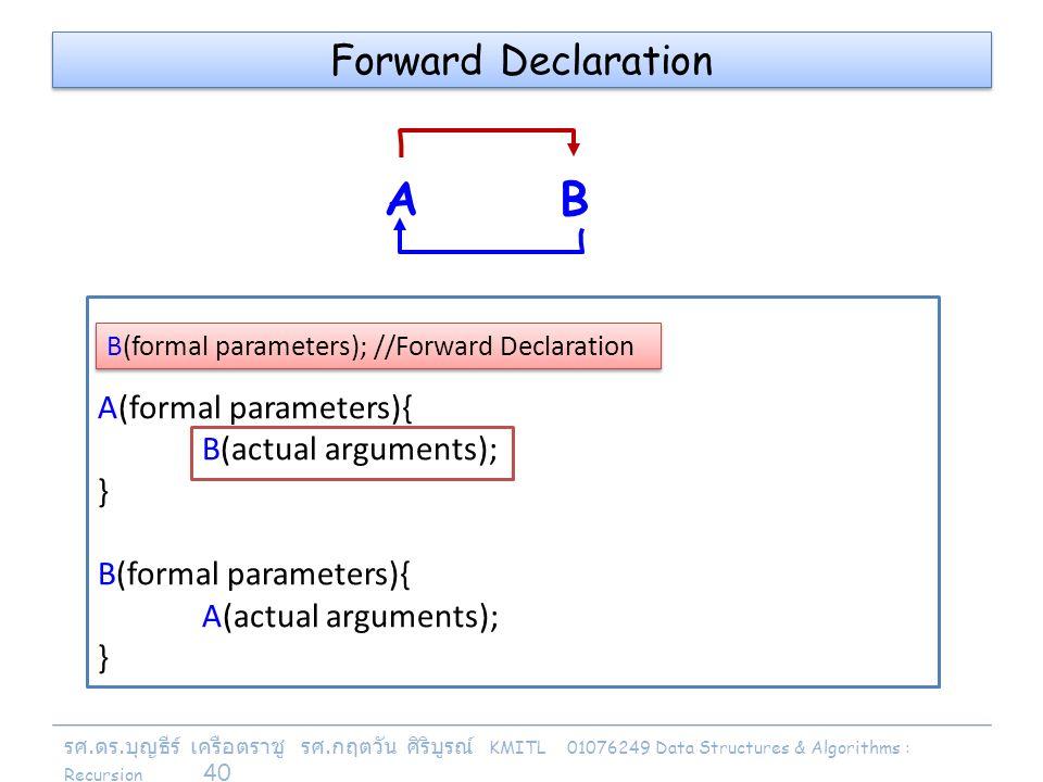 รศ. ดร. บุญธีร์ เครือตราชู รศ. กฤตวัน ศิริบูรณ์ KMITL 01076249 Data Structures & Algorithms : Recursion 40 A(formal parameters){ B(actual arguments);