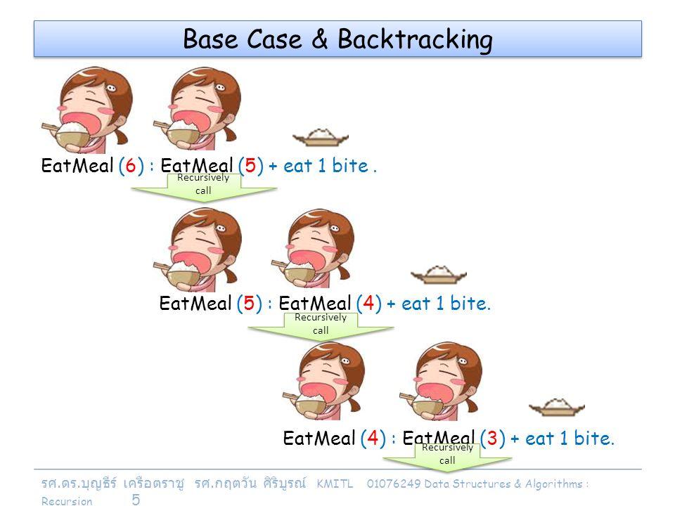 รศ. ดร. บุญธีร์ เครือตราชู รศ. กฤตวัน ศิริบูรณ์ KMITL 01076249 Data Structures & Algorithms : Recursion 5 EatMeal (5) : EatMeal (4) + eat 1 bite. Base