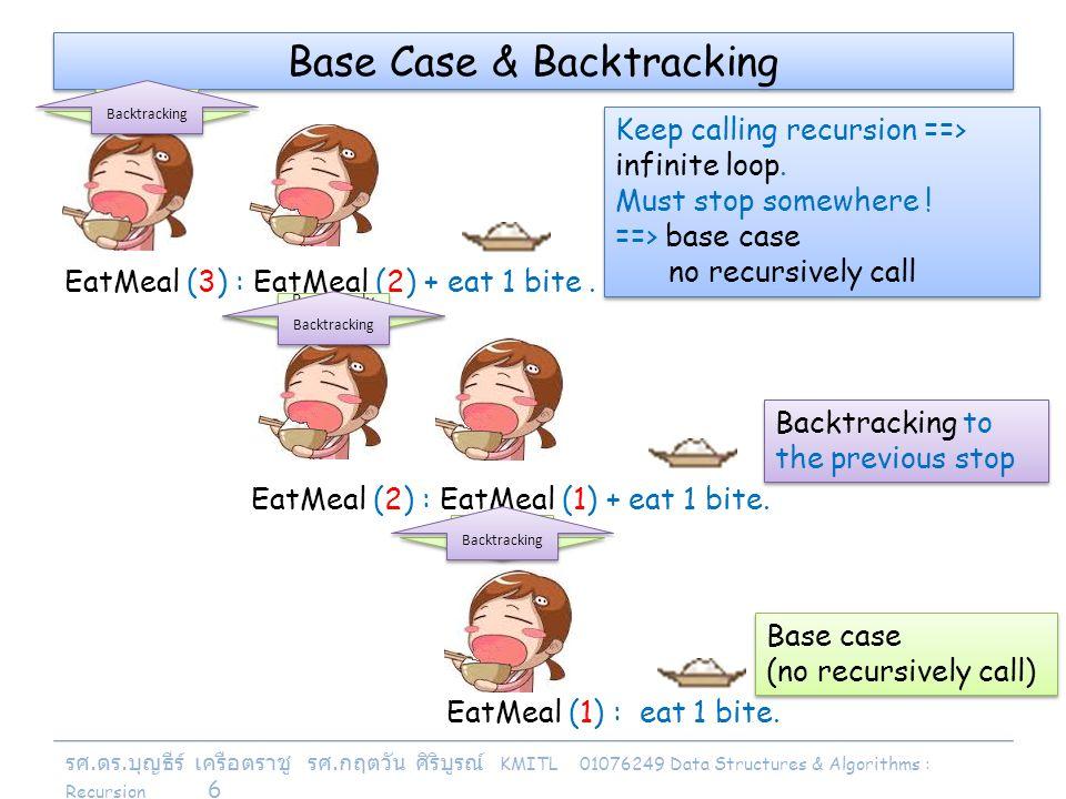 รศ. ดร. บุญธีร์ เครือตราชู รศ. กฤตวัน ศิริบูรณ์ KMITL 01076249 Data Structures & Algorithms : Recursion 6 EatMeal (2) : EatMeal (1) + eat 1 bite. Base