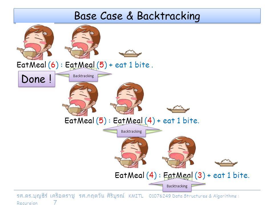 รศ. ดร. บุญธีร์ เครือตราชู รศ. กฤตวัน ศิริบูรณ์ KMITL 01076249 Data Structures & Algorithms : Recursion 7 EatMeal (5) : EatMeal (4) + eat 1 bite. Base