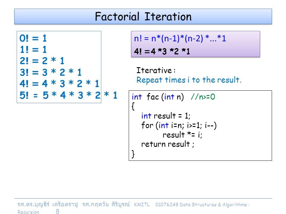 รศ. ดร. บุญธีร์ เครือตราชู รศ. กฤตวัน ศิริบูรณ์ KMITL 01076249 Data Structures & Algorithms : Recursion 8 0! = 1 1! = 1 2! = 2 * 1 3! = 3 * 2 * 1 4! =