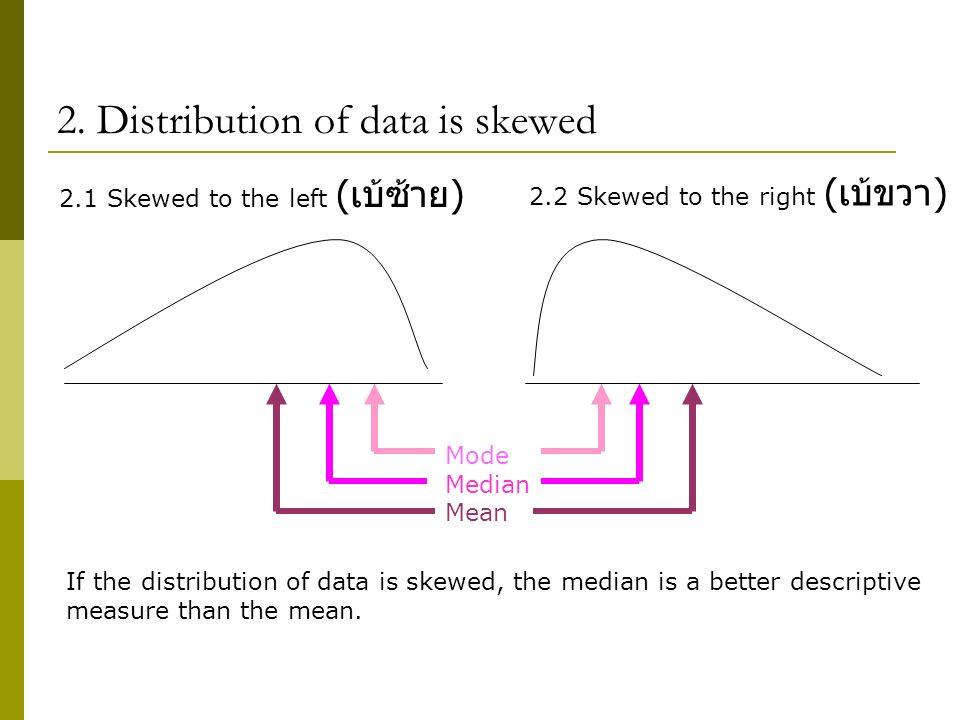 2. Distribution of data is skewed Mode Median Mean 2.1 Skewed to the left ( เบ้ซ้าย ) 2.2 Skewed to the right ( เบ้ขวา ) If the distribution of data i