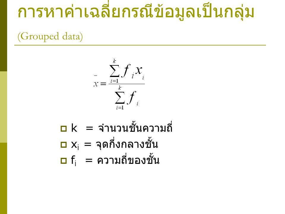การหาค่าเฉลี่ยกรณีข้อมูลเป็นกลุ่ม (Grouped data)  k = จำนวนชั้นความถี่  x i = จุดกึ่งกลางชั้น  f i = ความถี่ของชั้น