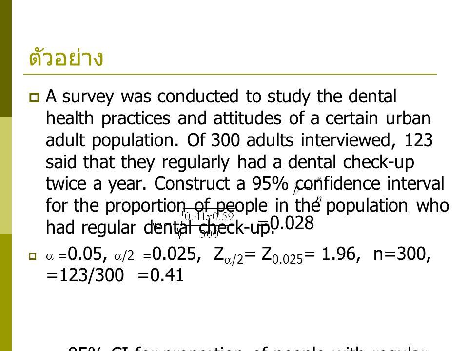 ตัวอย่าง  A survey was conducted to study the dental health practices and attitudes of a certain urban adult population. Of 300 adults interviewed, 1