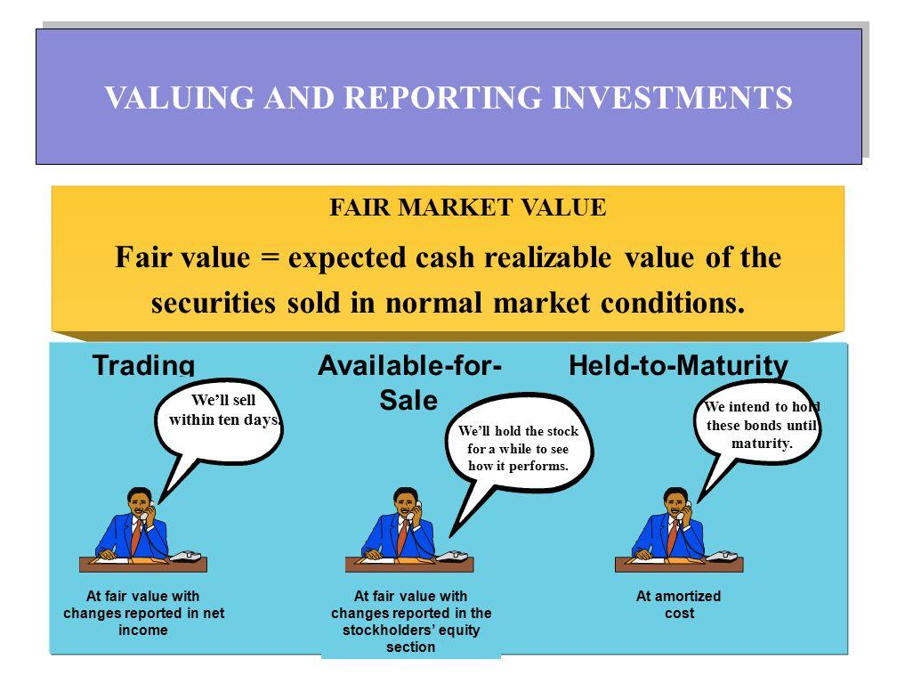 ตราสารหนี้เพื่อค้า (Trading) : ต้องการหากำไร จากการเปลี่ยนแปลงในราคาของหลักทรัพย์ ในช่วงสั้นๆ มักจัดเป็นเงินลงทุนชั่วคราว ตราสารหนี้เผื่อขาย (Available for Sales): มิได้ ตั้งใจจะค้าหากำไร อาจขายเมื่อมีโอกาส อำนวย อาจเป็นเงินลงทุนชั่วคราวหรือเงิน ลงทุนระยะยาว ตราสารหนี้ที่ถือจนครบกำหนด (Held to Maturities): ตั้งใจถือจนครบกำหนดอายุของ ตราสารหนี้ DEBT INVESTMENTS