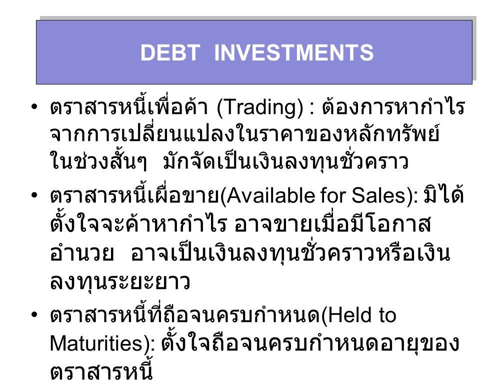 การบันทึกการรับดอกเบี้ยและการตัดบัญชีส่วน ต่ำมูลค่าหุ้นกู้ในสมุดรายวันทั่วไป ณ วันที่ผู้ ออกหุ้นกู้จ่ายดอกเบี้ย การตัดส่วนต่ำมูลค่าหุ้นกู้ DateAccountDebitCredit July 1 Cash5,000 Debt Investment-Held to Maturities 558.34 Interest Revenue5,558.34