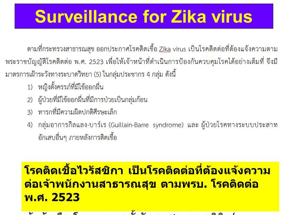 Surveillance for Zika virus โรคติดเชื้อไวรัสซิกา เป็นโรคติดต่อที่ต้องแจ้งความ ต่อเจ้าพนักงานสาธารณสุข ตามพรบ. โรคติดต่อ พ. ศ. 2523 ผู้แจ้ง คือ โรงพยาบ