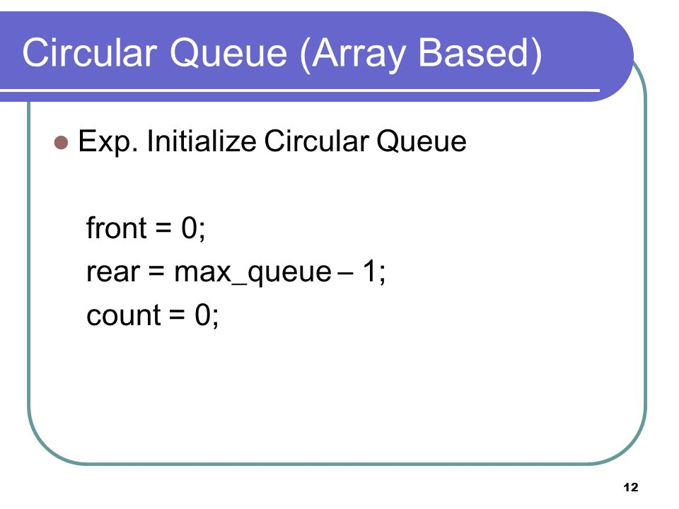 12 Circular Queue (Array Based) Exp.