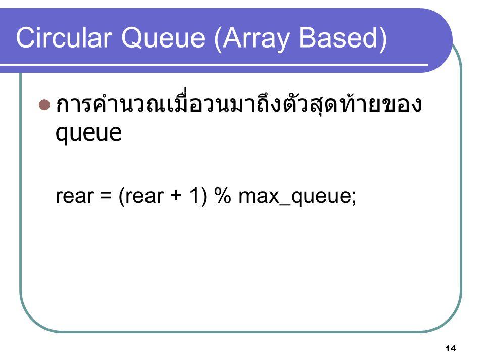 14 Circular Queue (Array Based) การคำนวณเมื่อวนมาถึงตัวสุดท้ายของ queue rear = (rear + 1) % max_queue;