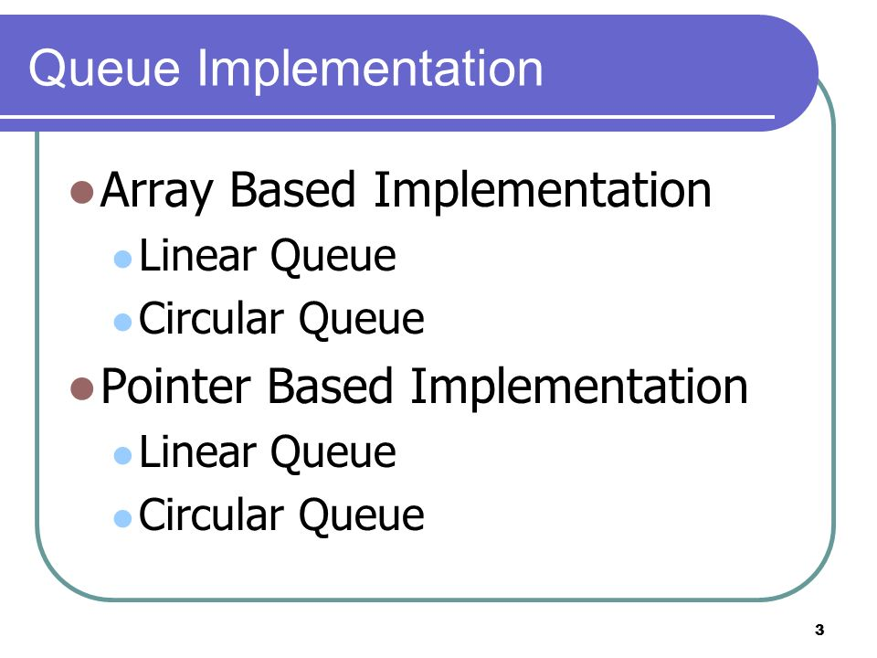 3 Queue Implementation Array Based Implementation Linear Queue Circular Queue Pointer Based Implementation Linear Queue Circular Queue