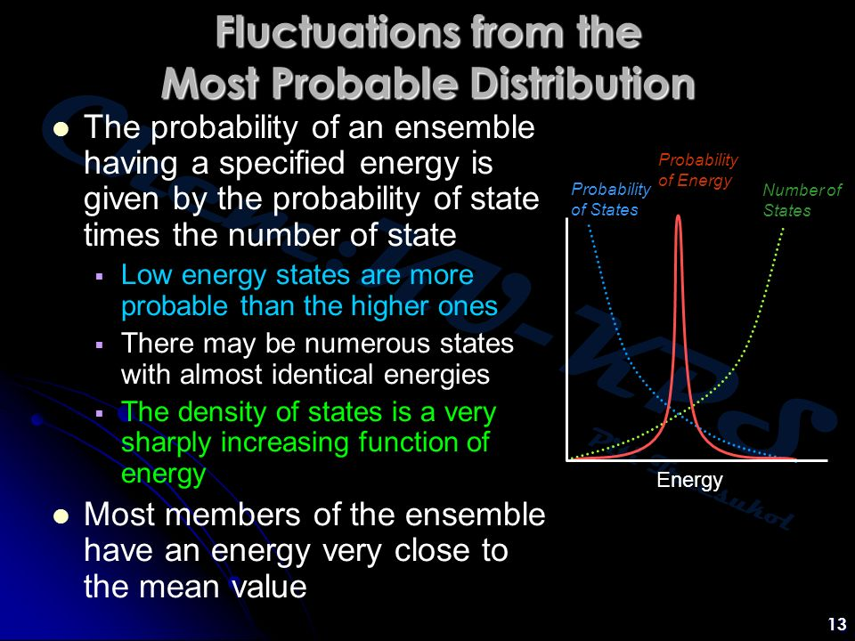 Chem:KU-KPS Piti Treesukol 13 Fluctuations from the Most Probable Distribution The probability of an ensemble having a specified energy is given by the probability of state times the number of state  Low energy states are more probable than the higher ones  There may be numerous states with almost identical energies  The density of states is a very sharply increasing function of energy Most members of the ensemble have an energy very close to the mean value Energy Number of States Probability of States Probability of Energy