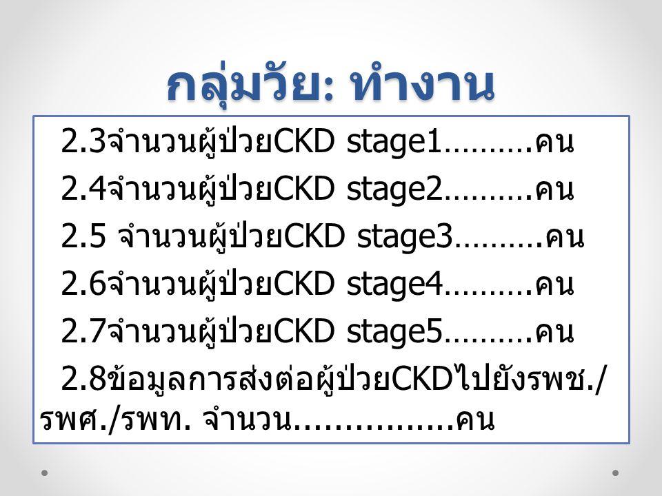 กลุ่มวัย : ทำงาน 2.3 จำนวนผู้ป่วย CKD stage1……….คน 2.4 จำนวนผู้ป่วย CKD stage2……….