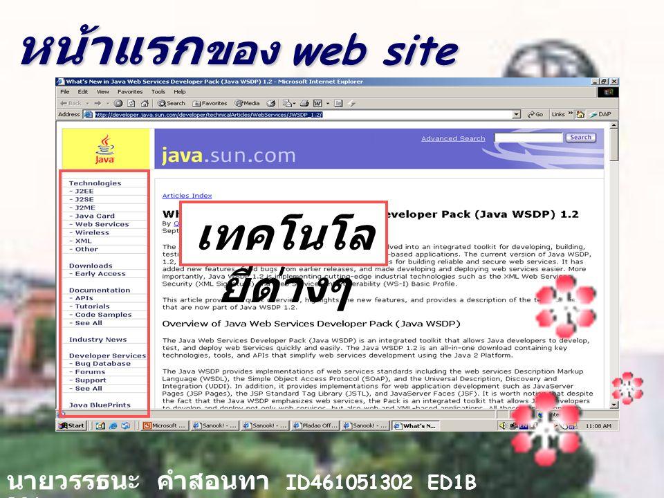หน้าแรก ของ web site นายวรรธนะ คำสอนทา ID461051302 ED1B B06 เทคโนโล ยีต่างๆ