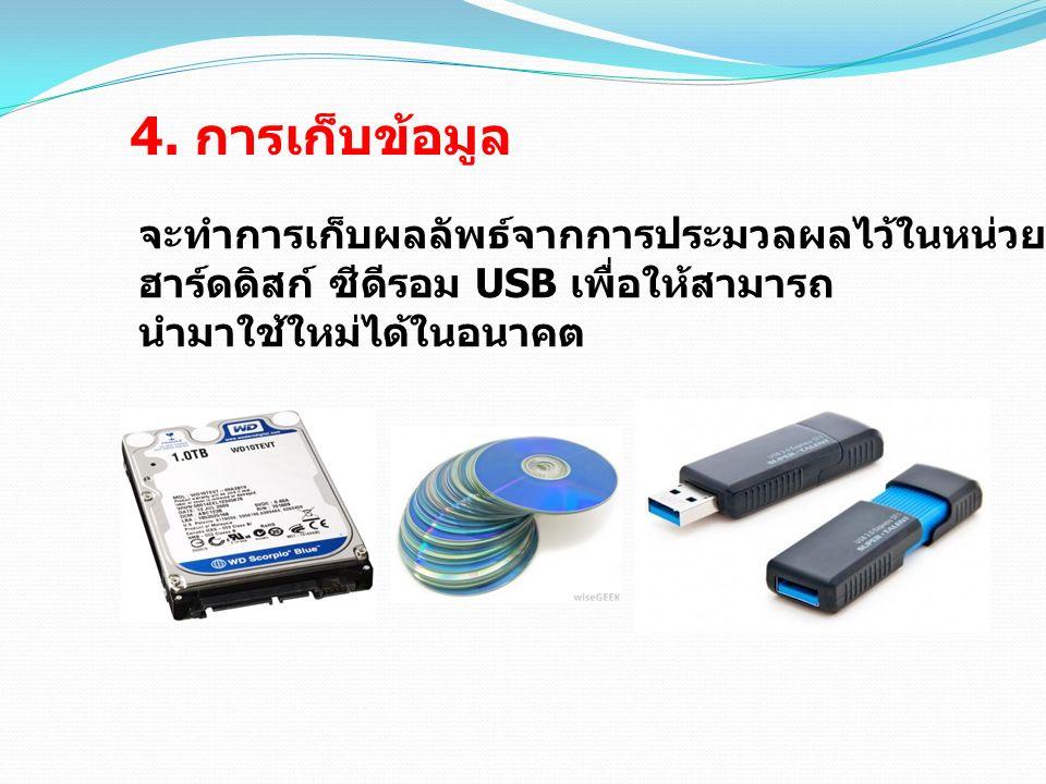 4. การเก็บข้อมูล จะทำการเก็บผลลัพธ์จากการประมวลผลไว้ในหน่วยเก็บข้อมูล เช่น ฮาร์ดดิสก์ ซีดีรอม USB เพื่อให้สามารถ นำมาใช้ใหม่ได้ในอนาคต