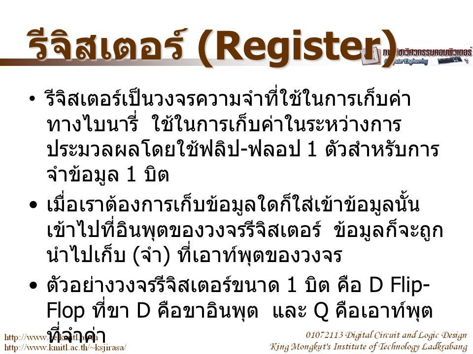 Register ขนาด 1 บิต การจำ 0 และ 1 ของ ฟลิป - ฟลอป D