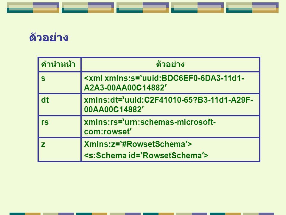 ตัวอย่าง คำนำหน้าตัวอย่าง s <xml xmlns:s= ' uuid:BDC6EF0-6DA3-11d1- A2A3-00AA00C14882 ' dt xmlns:dt= ' uuid:C2F41010-65?B3-11d1-A29F- 00AA00C14882 ' r