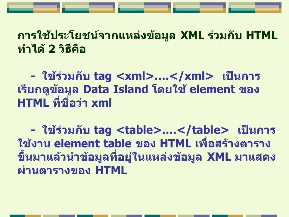 การใช้ประโยชน์จากแหล่งข้อมูล XML ร่วมกับ HTML ทำได้ 2 วิธีคือ - ใช้ร่วมกับ tag …. เป็นการ เรียกดูข้อมูล Data Island โดยใช้ element ของ HTML ที่ชื่อว่า