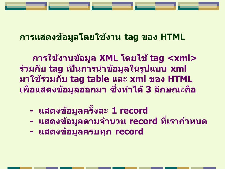 การแสดงข้อมูลโดยใช้งาน tag ของ HTML การใช้งานข้อมูล XML โดยใช้ tag ร่วมกับ tag เป็นการนำข้อมูลในรูปแบบ xml มาใช้ร่วมกับ tag table และ xml ของ HTML เพื