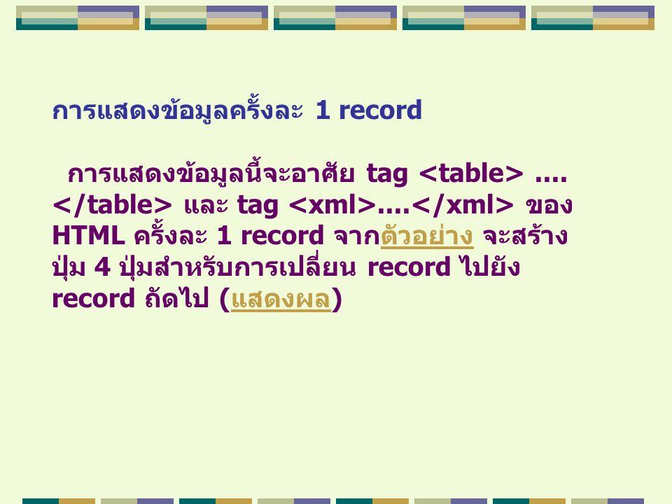 การแสดงข้อมูลครั้งละ 1 record การแสดงข้อมูลนี้จะอาศัย tag.... และ tag.... ของ HTML ครั้งละ 1 record จากตัวอย่าง จะสร้างตัวอย่าง ปุ่ม 4 ปุ่มสำหรับการเป